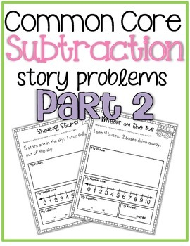 Common Core Subtraction Story Problems {part 2} K.OA.2