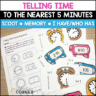 Common Core: Telling Time to the Nearest 5 Minutes Game Bundle