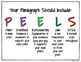 """Writing Paragraphs: Common Core """"PEELS"""" Anchor Chart"""