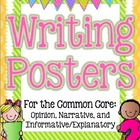 Common Core Writing Posters: Opinion, Narrative, Informati
