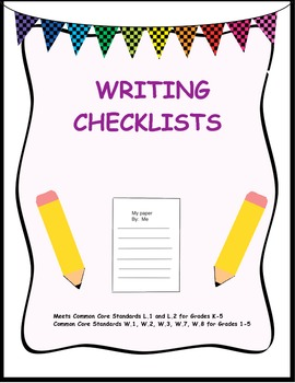 Common core writing and editing checklists