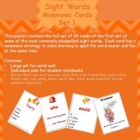 Commonly Misspelled Sight Words on Cards with Mnemonic Str