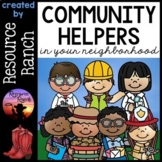 Community Helpers - Informational Posters full color and line art