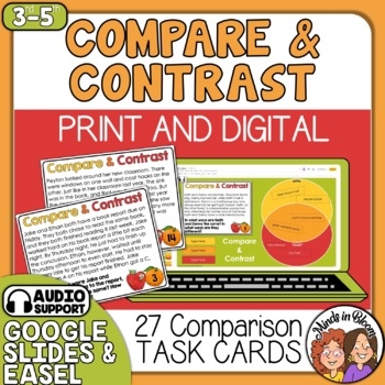 Compare and Contrast Task Cards: 24 Short Story Cards with Questions