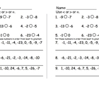 Compare and order negative number quiz