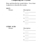 Comparing Crystals Handout for Foss Mixtures and Solutions Kit