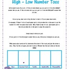 Comparing Decimals Game- High/Low Number Toss