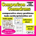 Comparison Conundrums math story problems task cards + pri