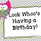 Complete Owl Birthday Bulletin Board - Now editable!