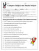 Complete Subject and Simple Subject Worksheet