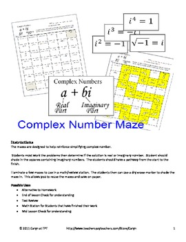 Complex Number (Imaginary) Maze ~~ Review Worksheet