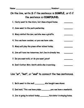 Compound Sentences Worksheet - Delibertad