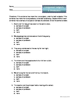 third grade compound subject and predicate worksheets - Google ...