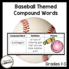 Compound Words Practice Graphic Organizers BASEBALL Themed Words