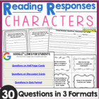 Comprehension Question Cards for Characters: 30 Questions