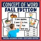Concept of Word (COW) Poems for Emergent Readers Fall Edition