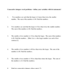 Consecutive Integer Word Problems and Answer Key