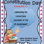 Constitution Day Letter Scramble Puzzle Packet and Center