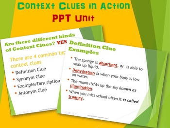 Context Clues in Action Power Point Unit