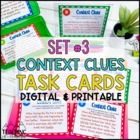 Context Clues Task Cards Set #3  ~ Differentiated & Common Core