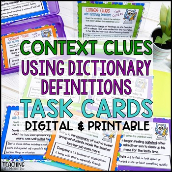 Context Clues Task Cards with Dictionary Definitions ( Com