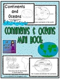 Continents and Oceans Mini Book