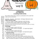 Contractions Love Halloween:A Learning Center Activity