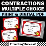 Contractions Task Cards Cut and Paste Worksheets ESL 2nd 3