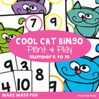 Cool Cat Bingo - Print and Play Numeral Identification Game