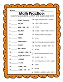 Correction to Reading and Writing Numbers Activity