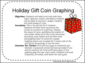 Counting & Graphing Coins: Holiday Gift