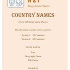 Country Names Bingo Game (H&I Bingo Game Sheets) - 4 X 4