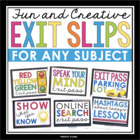 Creative Exit Passes For Any Subject! Effective Formative