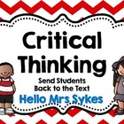 Critical Thinking Questions to Send Students Back to the Text