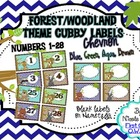 Cubby Labels 1-28 Woodland Chevron Theme (Brown, Blue, Aqu