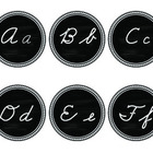 Cursive Chalkboard Word Wall Headers Black and White