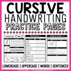 Cursive Handwriting Practice Pages - A Cursive Unit - {138