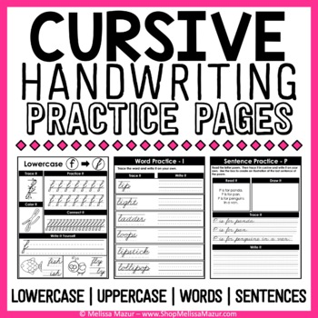 Cursive Handwriting Practice Pages - A Cursive Unit - {138 Pages!}