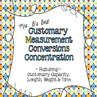 Customary Measurement Conversions Concentration Match-Up Cards