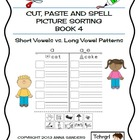 Cut, Paste & Spell Picture Sort Worksheets-Book 4 - LONG V