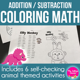 Cute Critters: Coloring Sheets for Addition and Subtractio