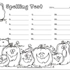 Cute Halloween Spelling Test Template Form Pack 12, 15, or