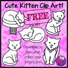 Cute Kitten Clip art *FREEBIE* (color & black line)
