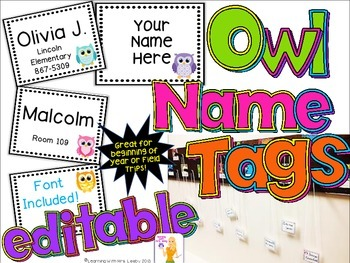 Cute Owl Name Tags