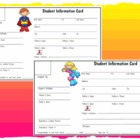 Cute and Adorable Student Information Cards