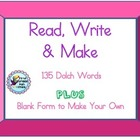 Dolch Sight Words Read, Write & Make Work on Words Activity