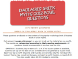 780 Quiz Bowl Review Questions for D'Aulaires Book of Greek Myths