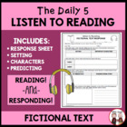 Daily 5 Listen to Reading Fiction Worksheet for Students FREE