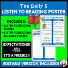 Daily 5 Listen to Reading Intermediate Poster I Chart FREE