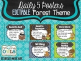 Daily 5 Posters Forest Theme EDITABLE
